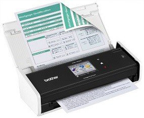 ADS-1500W Desktop Scanner scanning two-sided paper