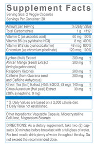 30 Day Nutritional info