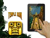 Shows Temple Run app on display.