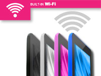 4 different color tablets connecting to wi-fi.