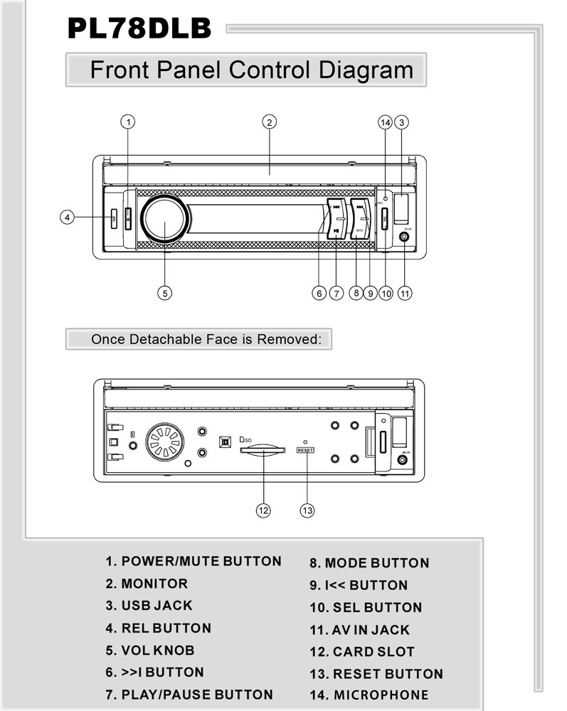pyle pl78dlb on the road headunits stereo receivers front panel component diagram view larger