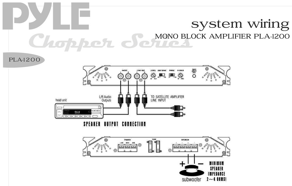 pyle pla1200 on the road vehicle amplifiers rh pyleaudio com Ford Explorer Radio Wiring Diagram subwoofer wiring diagram mono amp