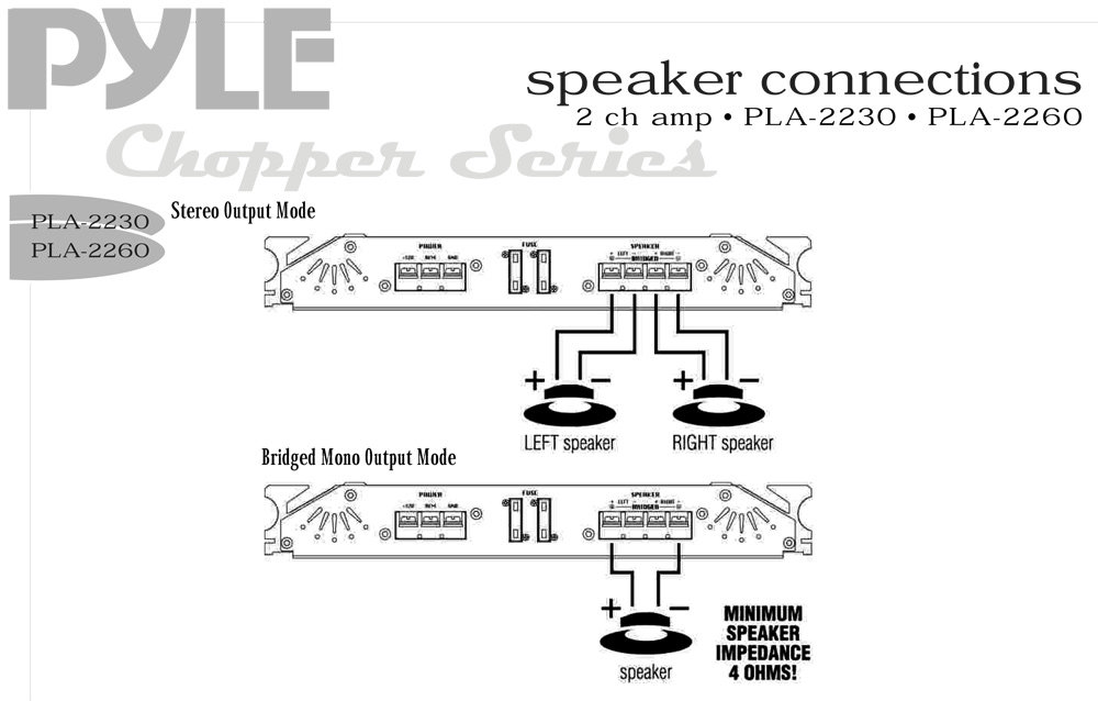PLA2260_diagram pyle pla2260 marine and waterproof vehicle amplifiers on mono amp wiring diagram at gsmportal.co