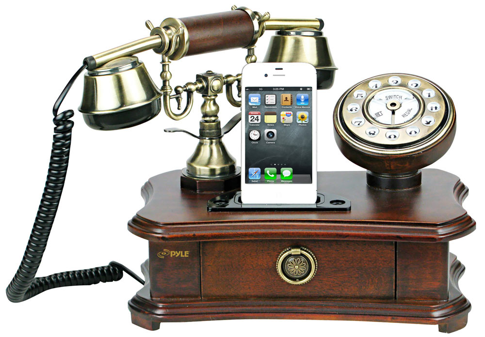 pyle prt35i retro home telephone with charger for iphone ipod retail packaging. Black Bedroom Furniture Sets. Home Design Ideas