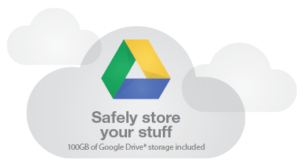 Safely store your stuff | 100GB of Google Drive storage included
