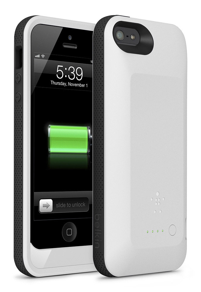 belkin grip power battery case for iphone 5 white cell phones accessories. Black Bedroom Furniture Sets. Home Design Ideas