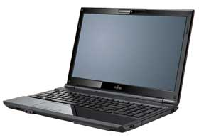 An angled front shot of the Fujitsu LIFEBOOK AH532 with lip open