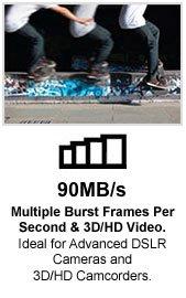 90 MB/s Multiple Burst Frames Per Second & HD/3D Video