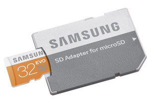 Samsung EVO 32GB microSD Card with Adapter Product Shot