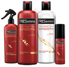 TRESemmé Keratin Infusing Shampoo, TRESemmé Keratin Infusing Conditioner, TRESemmé Keratin Infusing Serum, TRESemmé Keratin Smooth Heat Protection Shine Spray