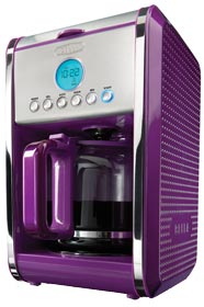 BELLA 13844 Dots Collection 12-Cup Programmable Coffee Maker, Purple Black Coffee Maker
