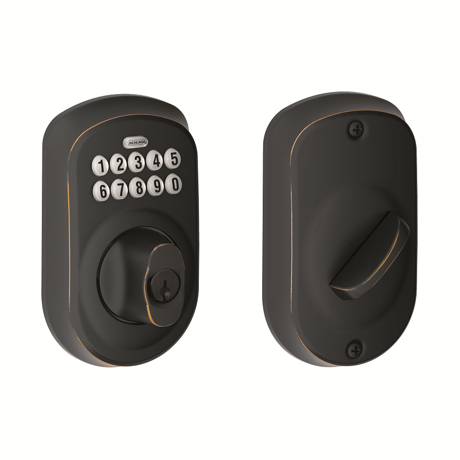 schlage be365 ply 716 plymouth keypad deadbolt aged bronze door dead bolts. Black Bedroom Furniture Sets. Home Design Ideas