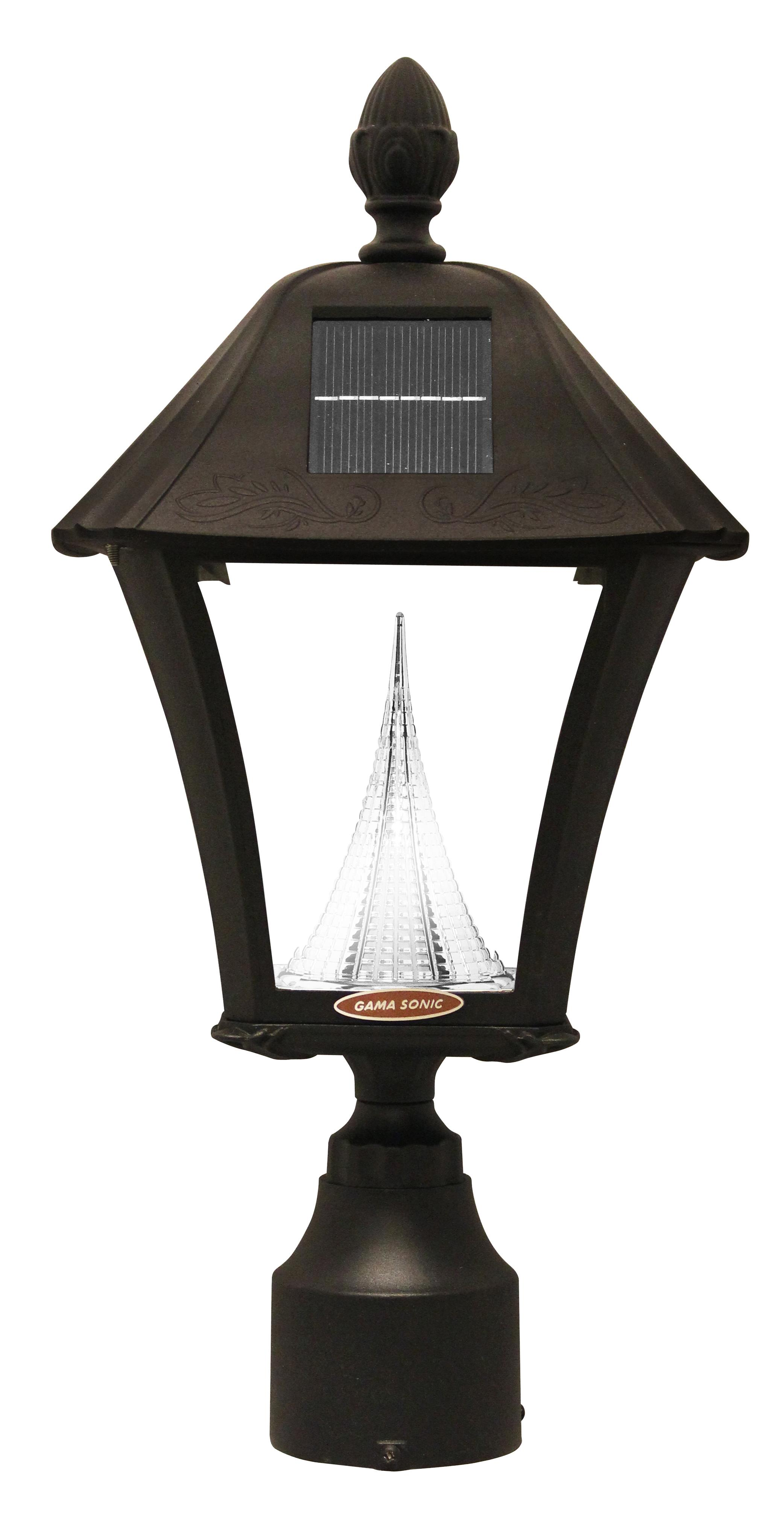 Gama Sonic GS-106FPW Baytown outdoor solar light in black finish on