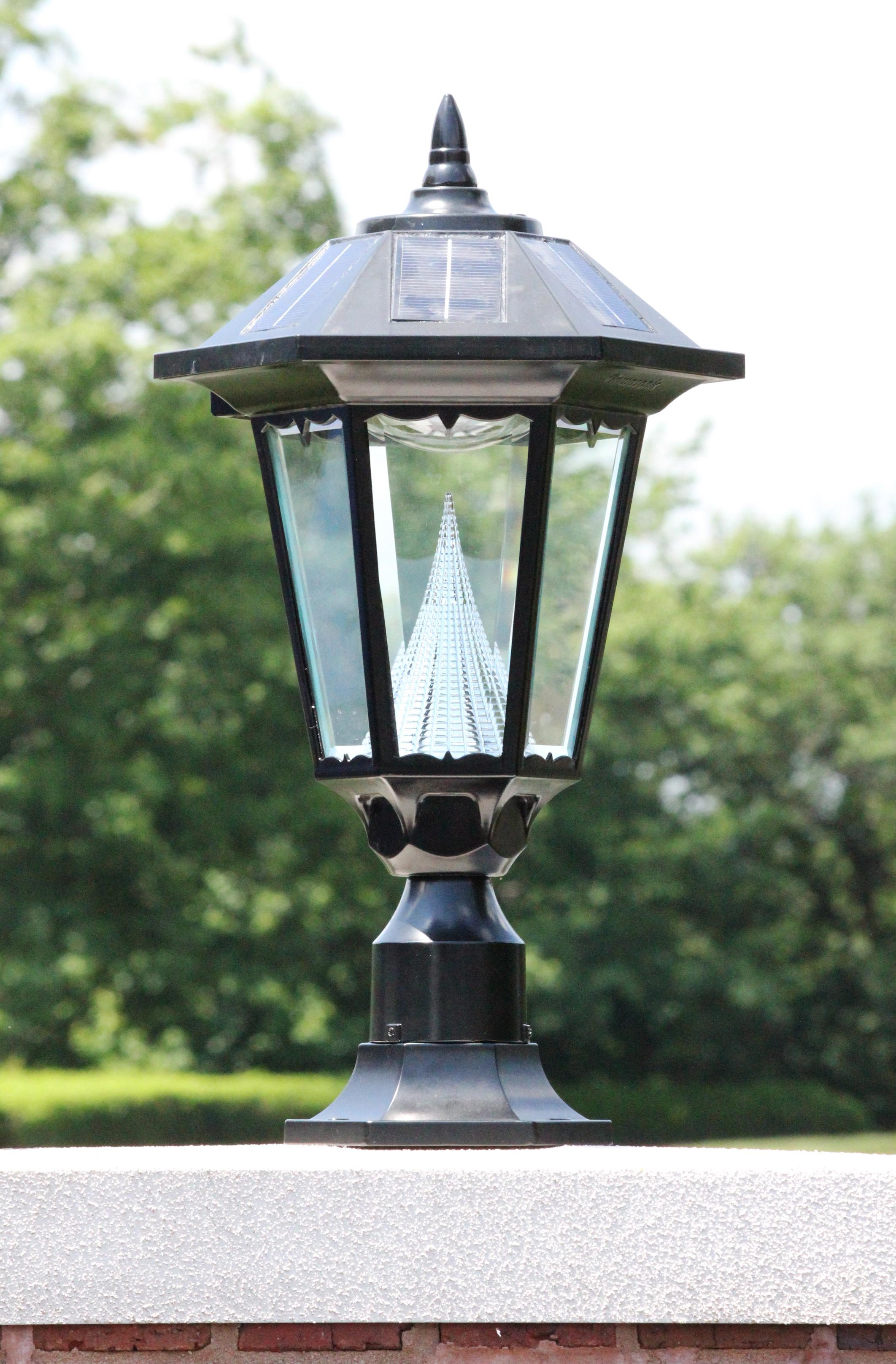 sonic windsor outdoor solar light gs 99f on its pier mount outside