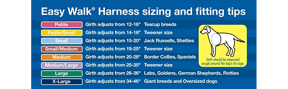 Sizing chart for PetSafe Easy Walk Harness