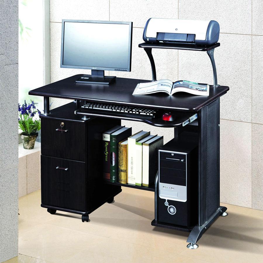 Wooden Computer Desk Shelf Drawer Storage Office