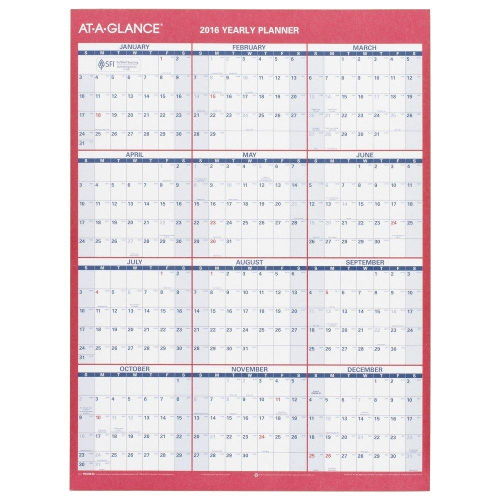 Year Calendar At A Glance : At a glance wall calendar yearly erasable