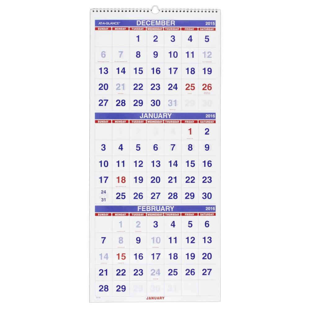 ... GLANCE, wall calendar, three month wall calendar, hanging calendar