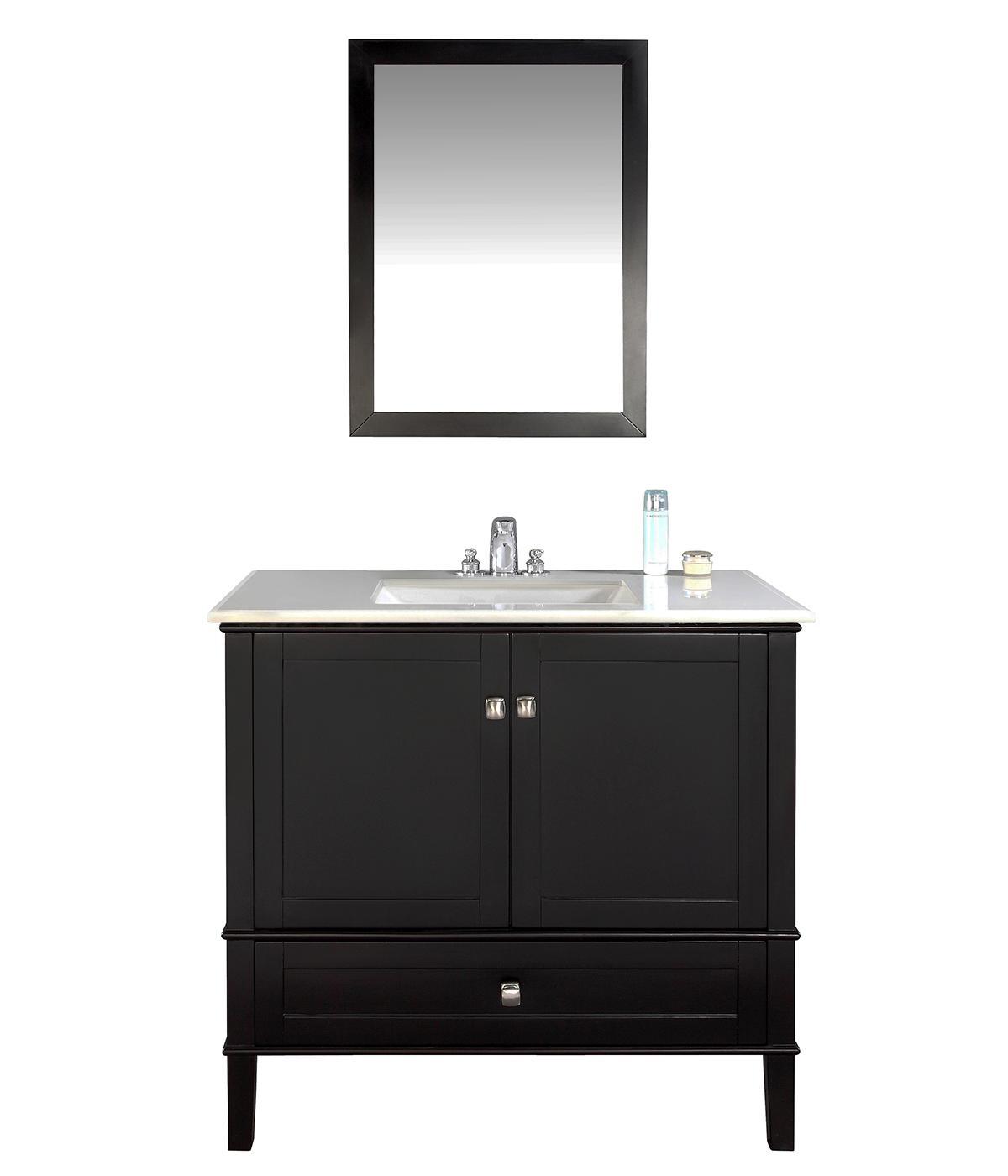 Simpli Home Chelsea 36 Bath Vanity With White Quartz Marble Top Black