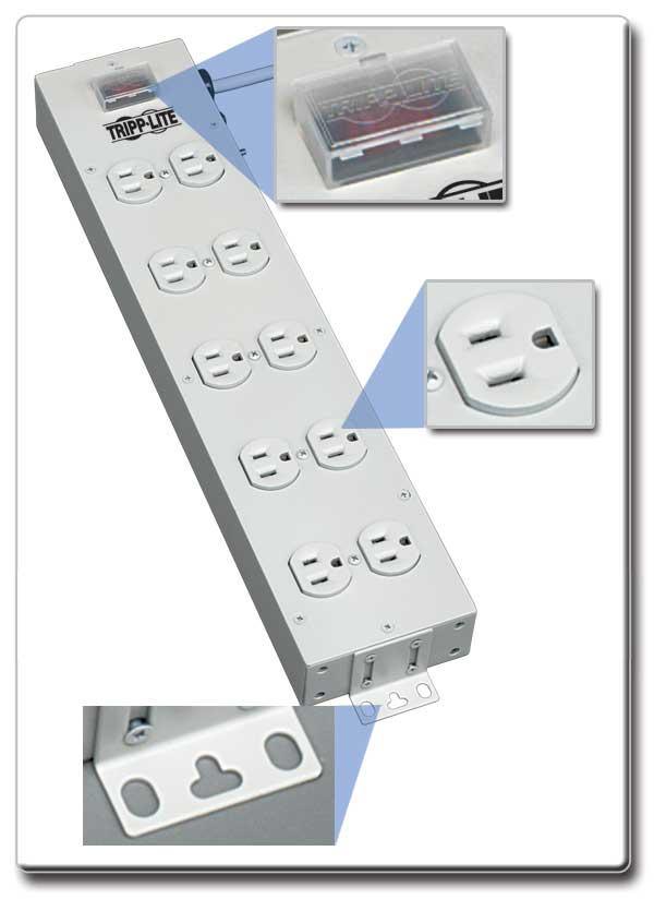 Amazon.com: Tripp Lite 10 Outlet Home & Office Power Strip, 15ft ...