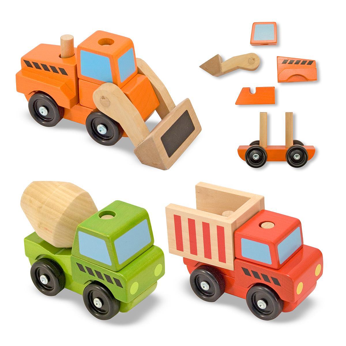 Wood Building Toys For Boys : Amazon melissa doug stacking construction vehicles