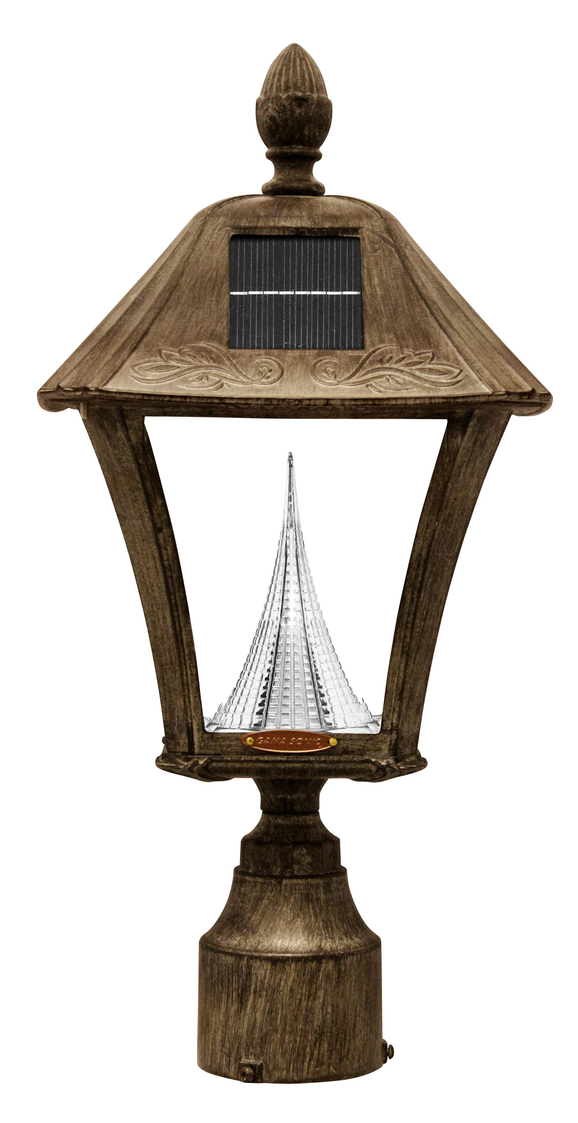 Gama Sonic GS-106FPW Baytown outdoor solar light in weathered bronze
