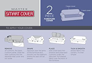 two piece, 2 piece, slipcover, Maytex, stretch, furniture cover, sofa