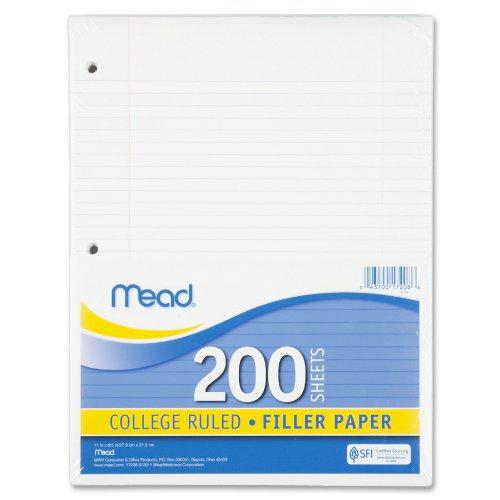Amazon com   Mead Filler Paper, Loose Leaf Paper, College Ruled, 200 Sheets  Pack (15326