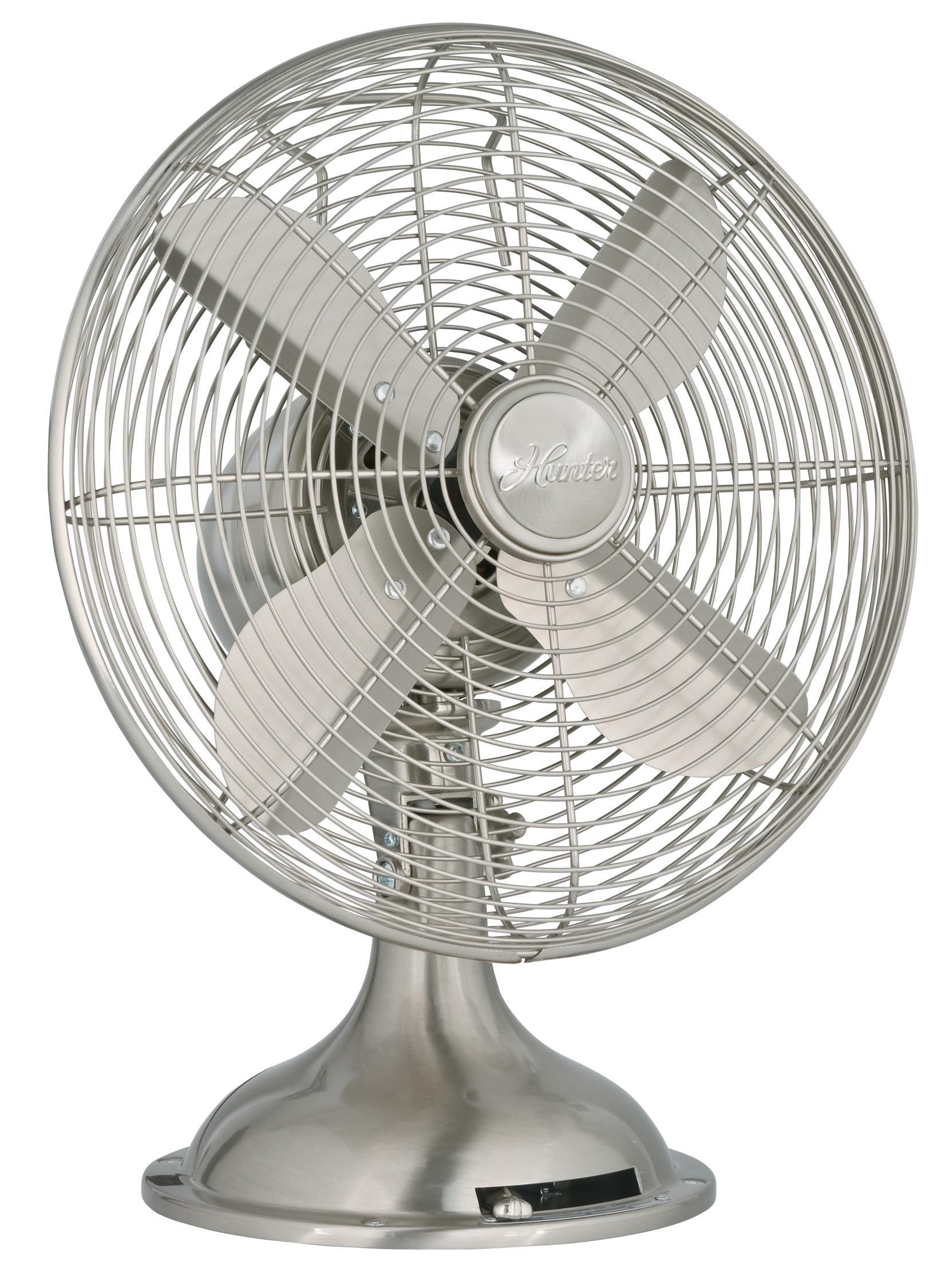 Table Top Oscillating Fan : Amazon hunter quot metal fan brushed nickel