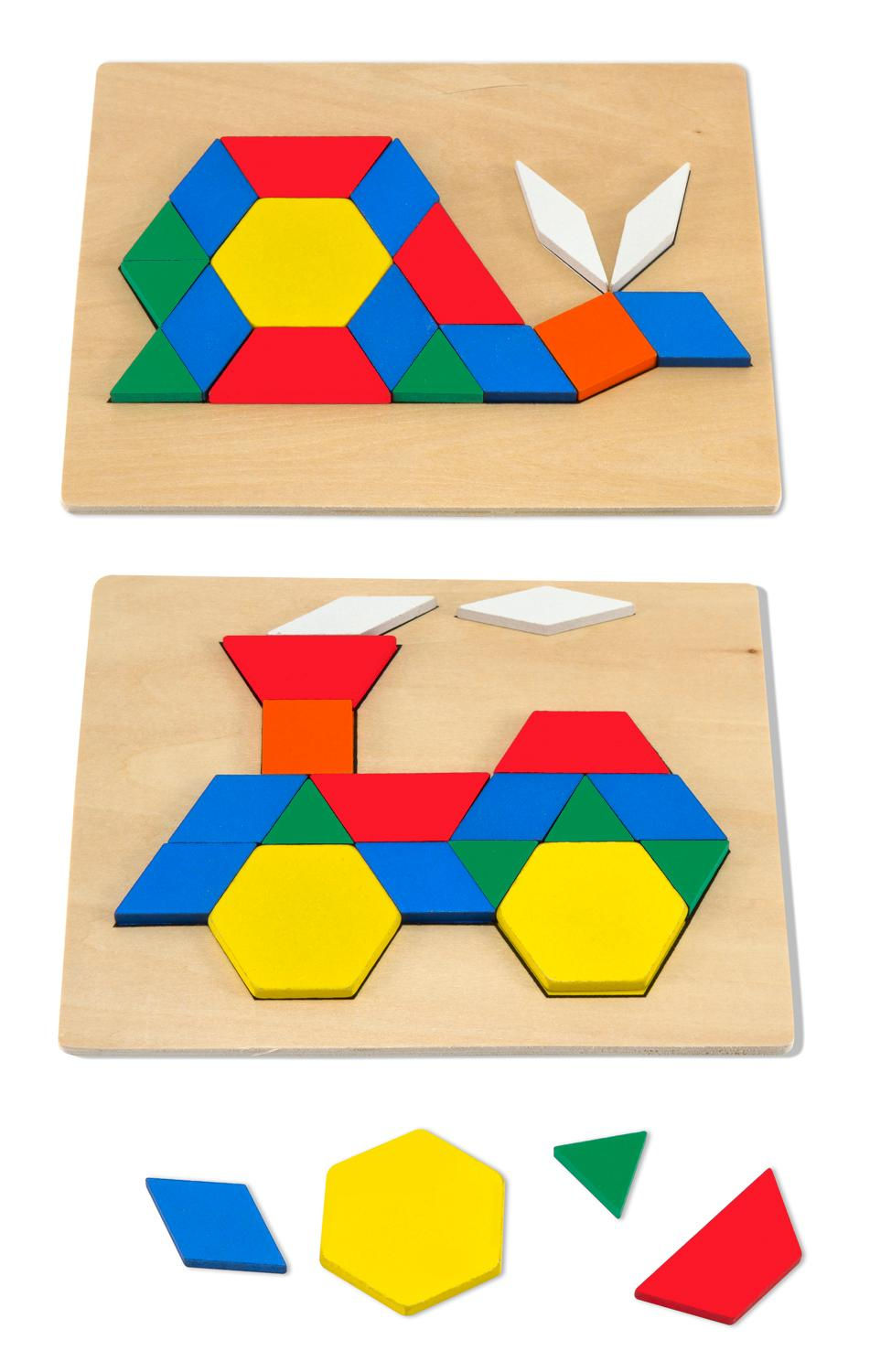Melissa doug pattern blocks and boards melissa doug toys games - Matching wood pieces of different colors ...