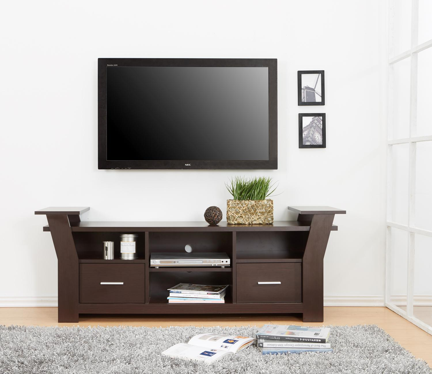 Furniture of america torena multi storage tv for Tv console with storage