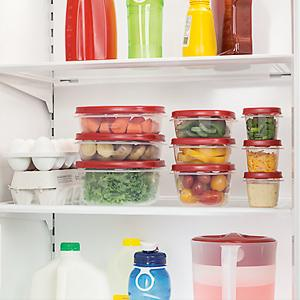 Rubbermaid Easy Find Lid Food Storage Container in fridge