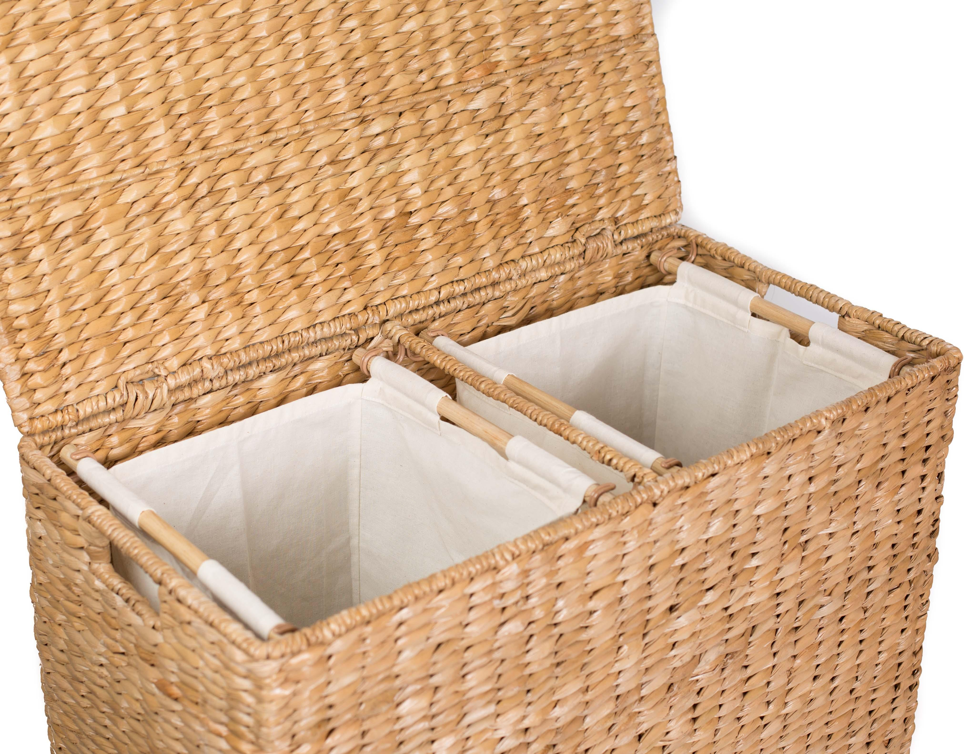 Birdrock home oversized divided hamper with liners honey made of natural woven - Divided clothes hamper ...