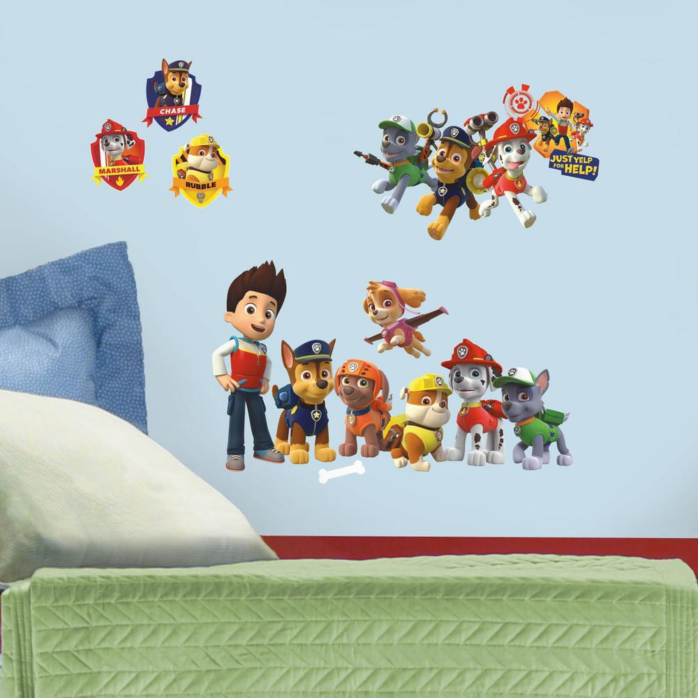Roommates rmk2640scs paw patrol peel and stick wall decals for Pre stick wallpaper