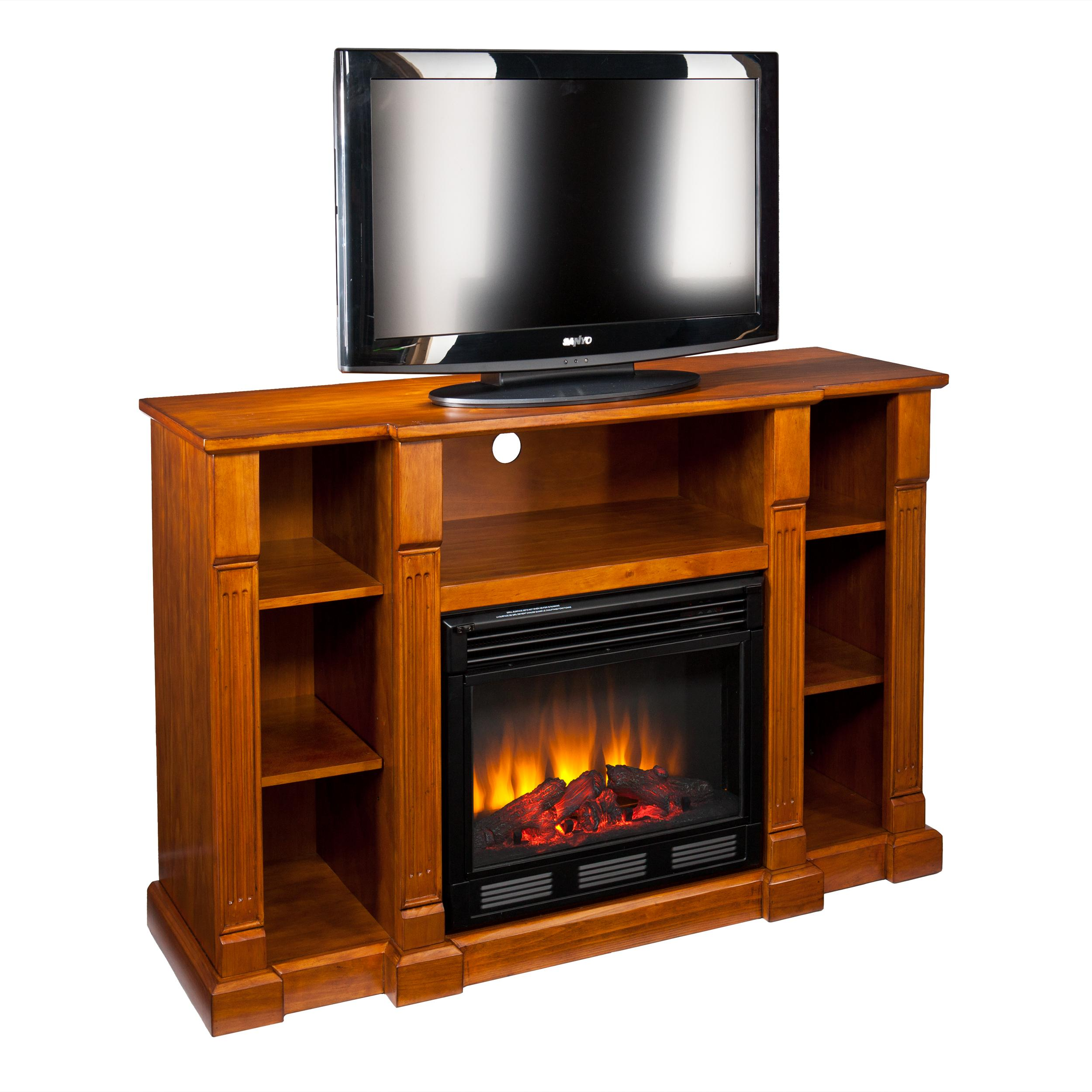 kendall electric media fireplace glazed pine. Black Bedroom Furniture Sets. Home Design Ideas
