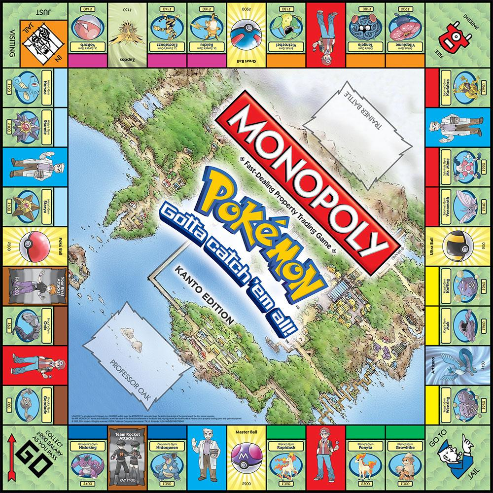 pokemon monopoly, pokemon game, kanto game, pokemon kanto board game