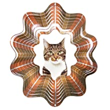 Iron Stop Grey Tabby Cat Wind Spinner