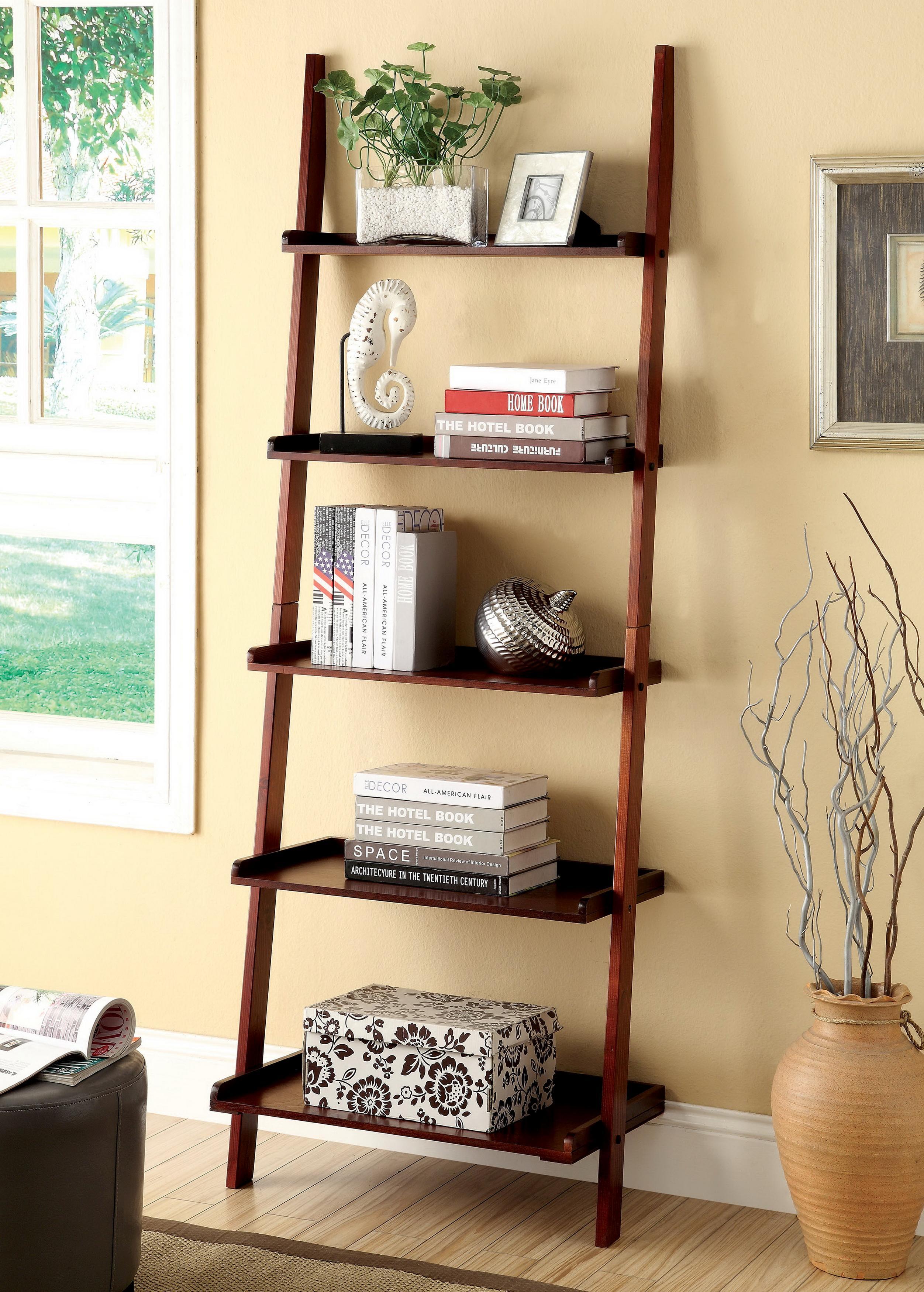 Furniture of america klaudalie 5 tier ladder for Decor ladder shelf