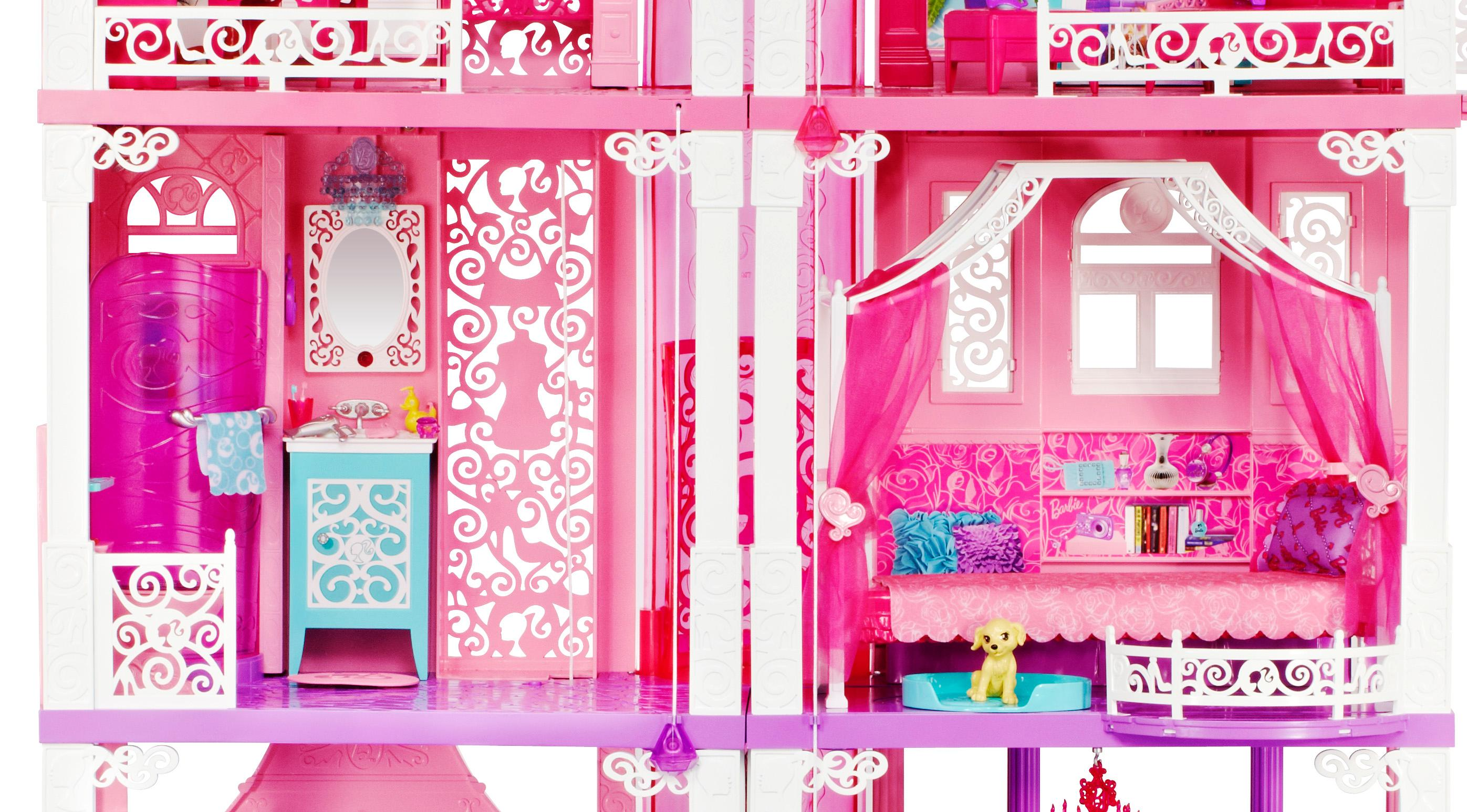 Barbie doll by mattel 3 story deluxe folding townhouse for Barbie dream house bedroom