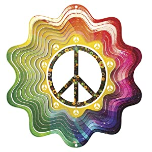 Iron Stop Designer Peace Sign Wind Spinner