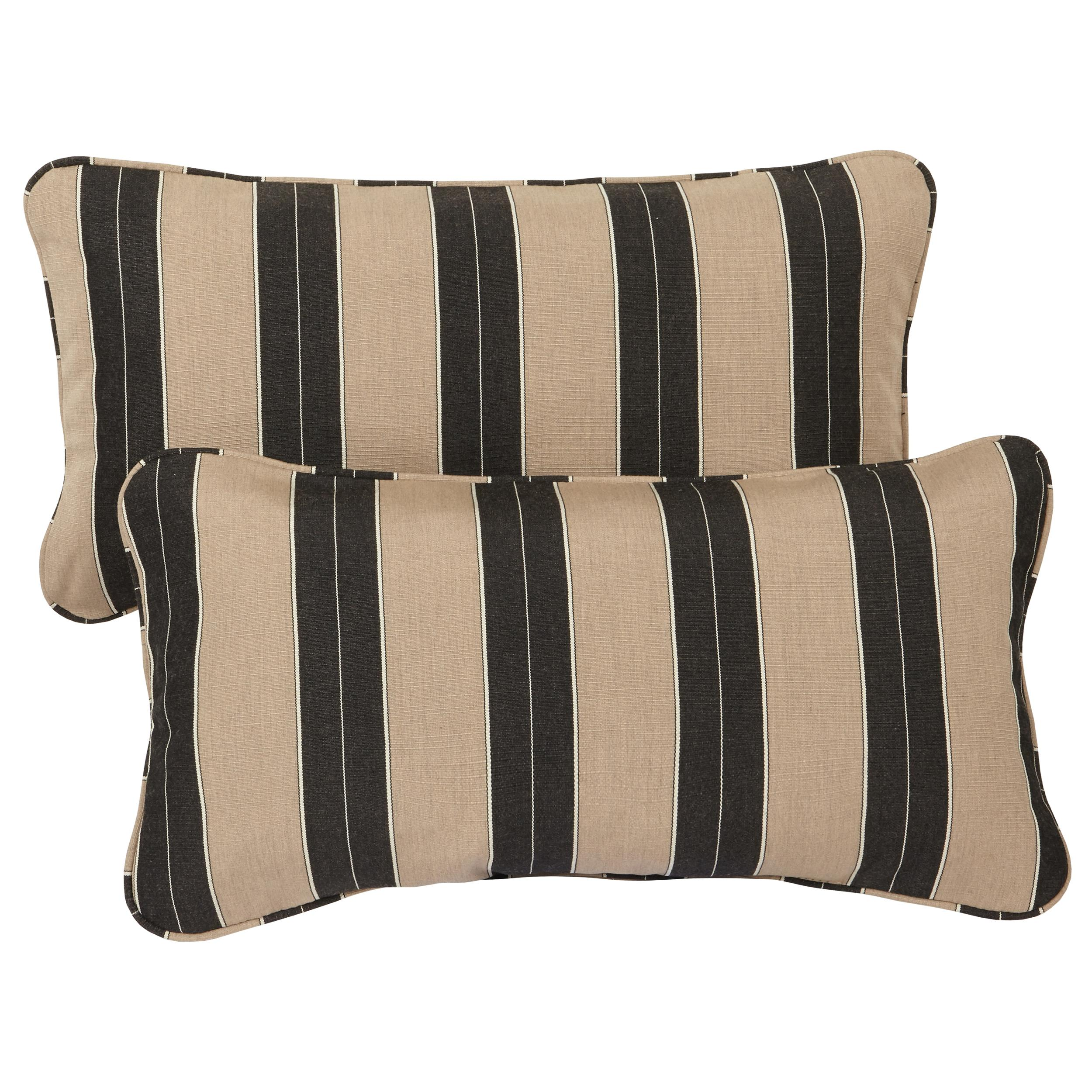 Black And Beige Decorative Pillows : Amazon.com : Mozaic Corded Indoor/Outdoor Lumbar Throw Pillows, 12 by 24-Inch, Black/Beige ...