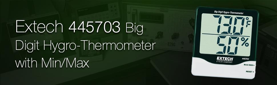 Extech, 445703, Big Digit Hygro-Thermometer, Hygro-Thermometer, hygrometer, thermometer