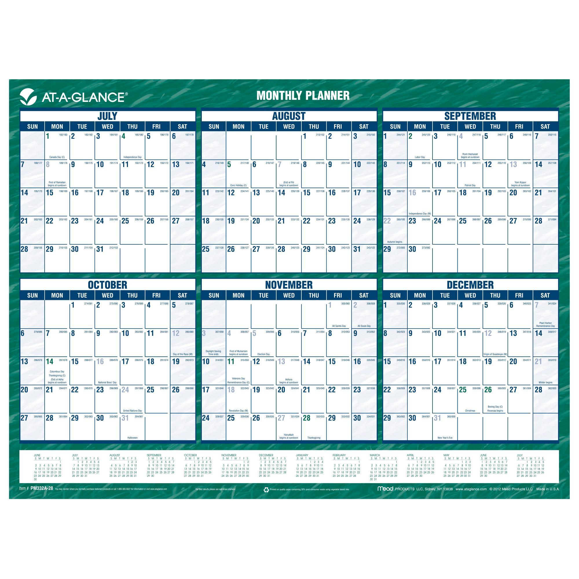 Erasable Calendar Monthly