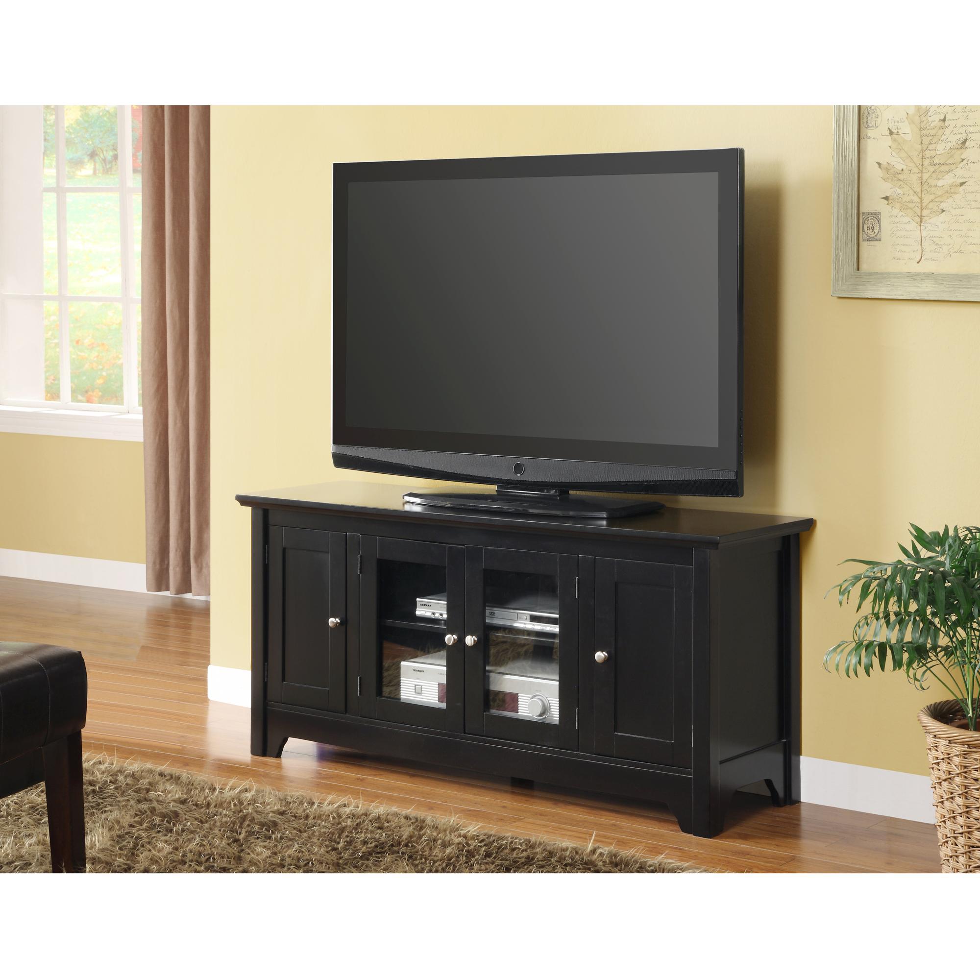 walker edison 53 wood tv stand with storage. Black Bedroom Furniture Sets. Home Design Ideas