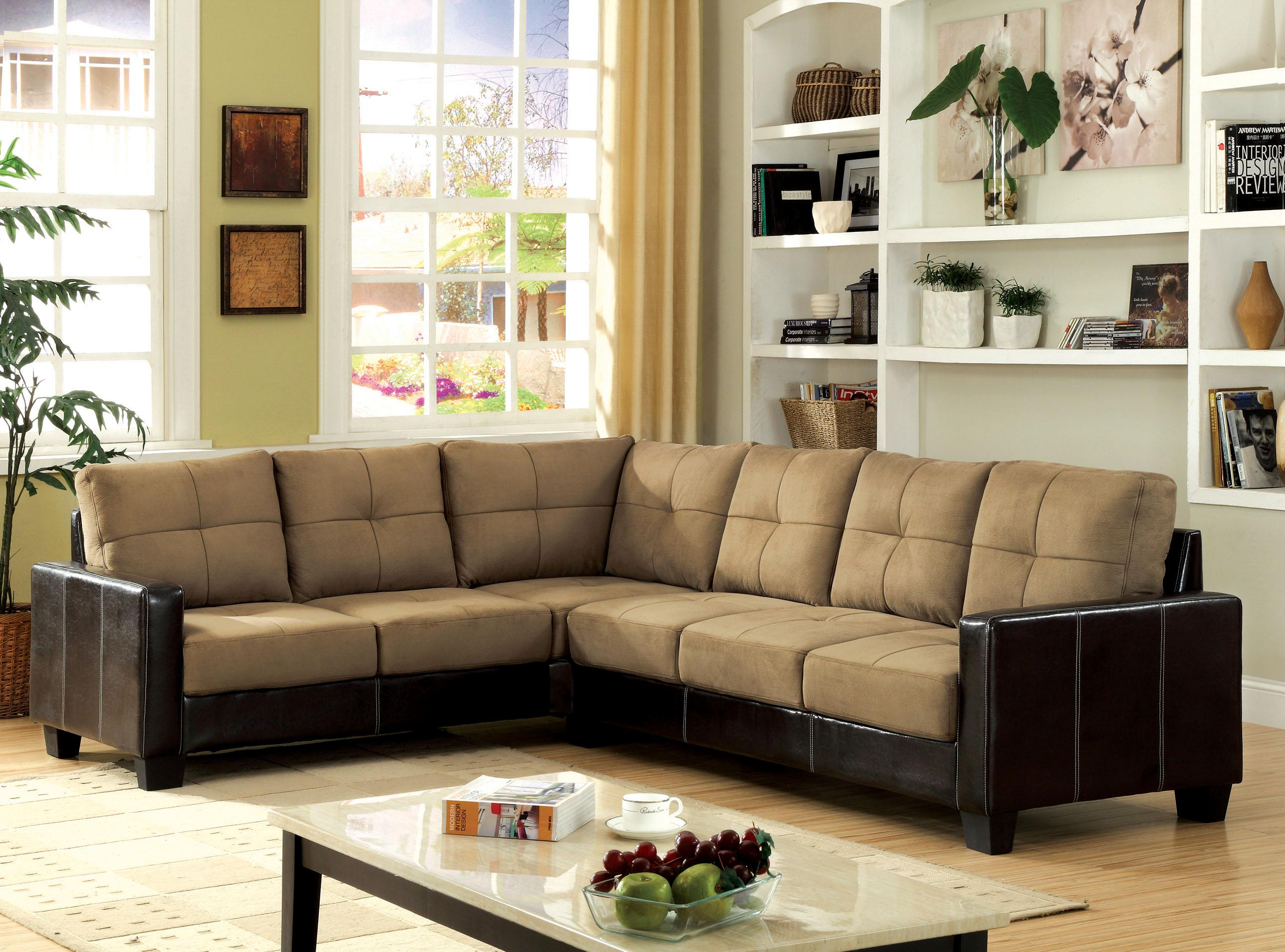 Furniture of america microfiber upholstered sectional sofa for Furniture of america