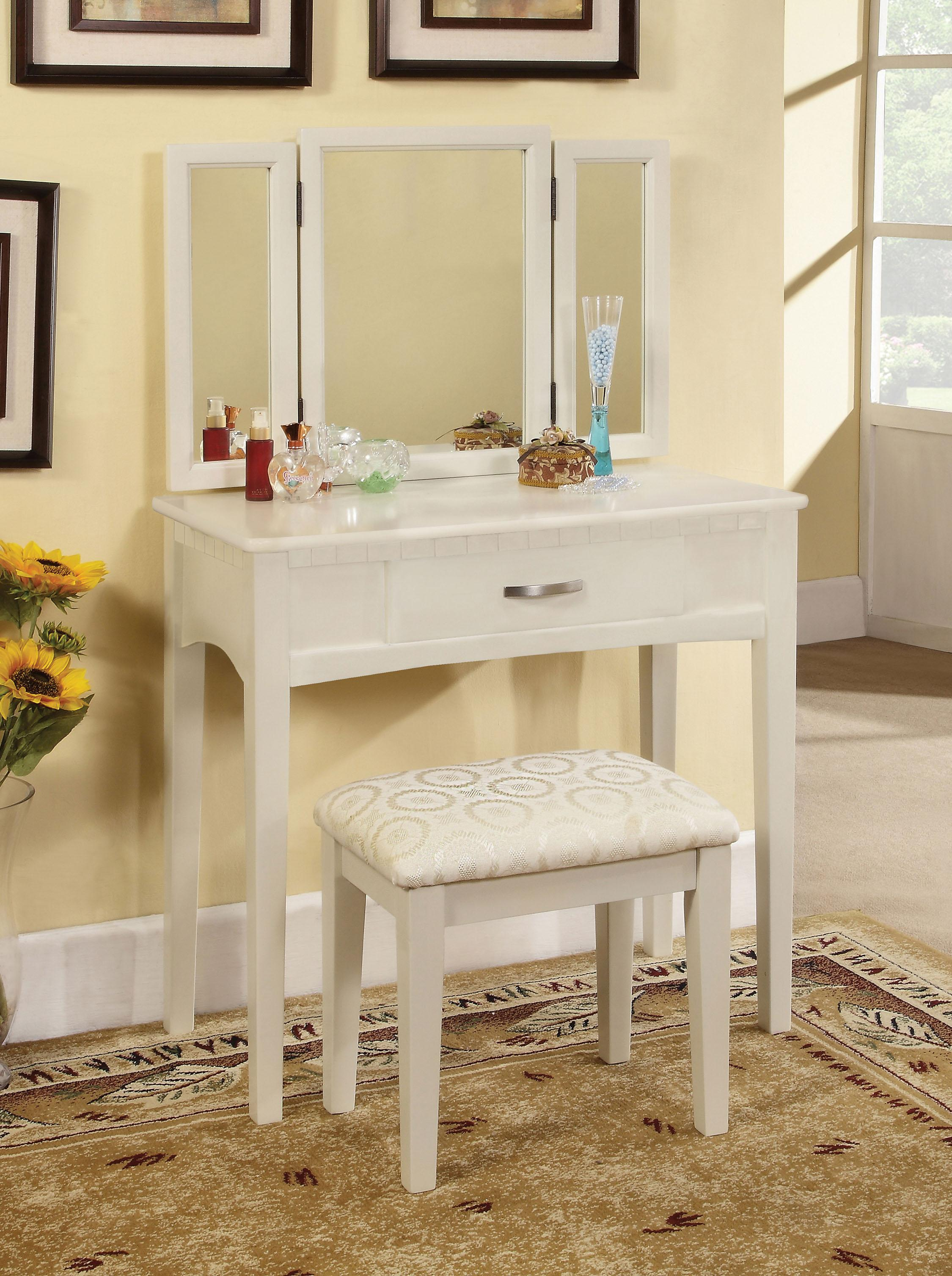 Enitial Lab Doris 2 Piece Vanity And Stool Set White