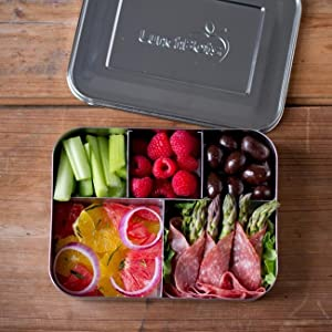 lunchbots bento cinco large stainless steel food container 5 section adults and. Black Bedroom Furniture Sets. Home Design Ideas
