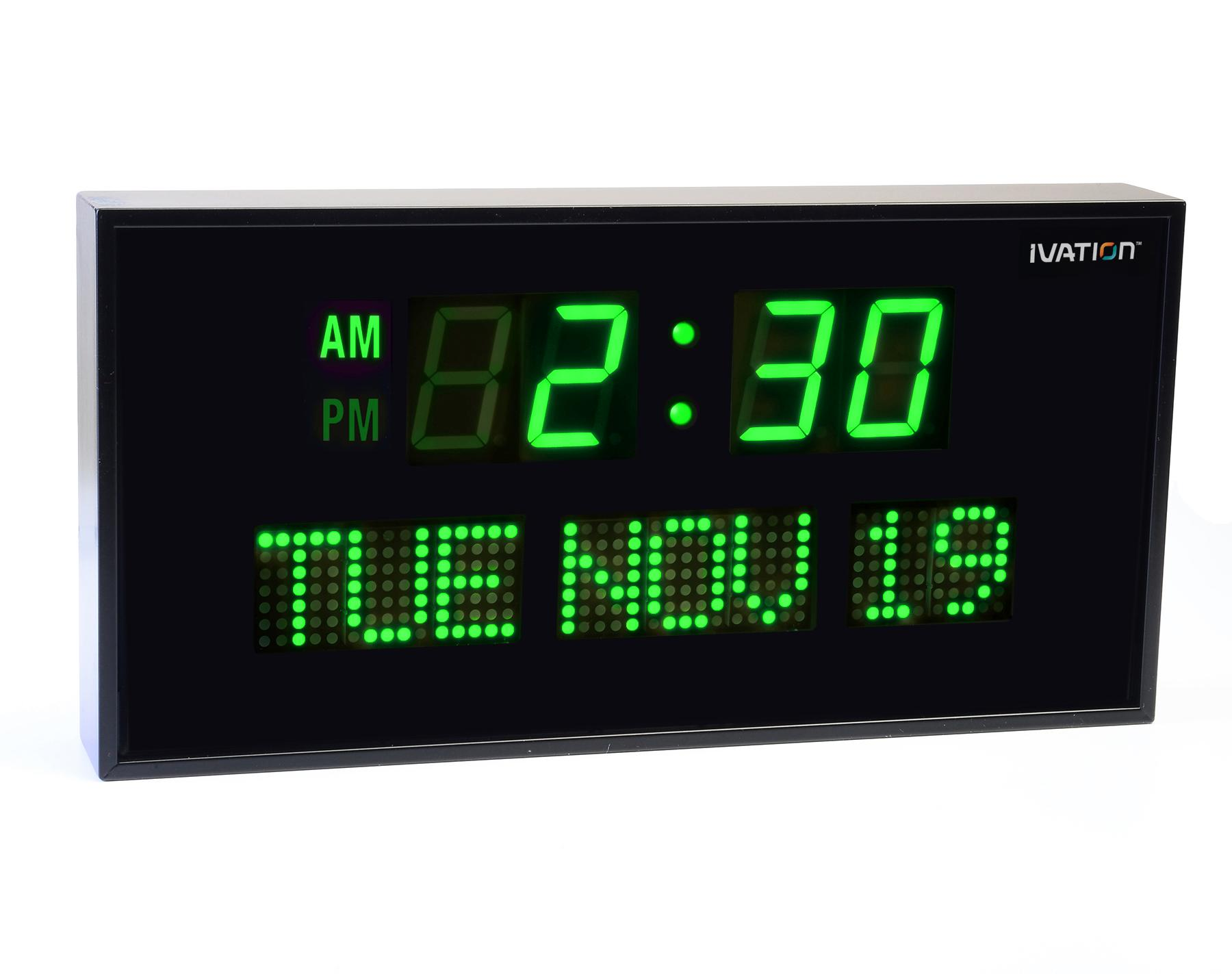 Ivation jid0212grn big oversized digital blue Digital led wall clock