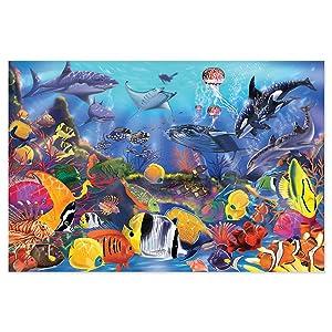 jigsaw puzzle, jumbo, ocean, tropical fish,coral reef