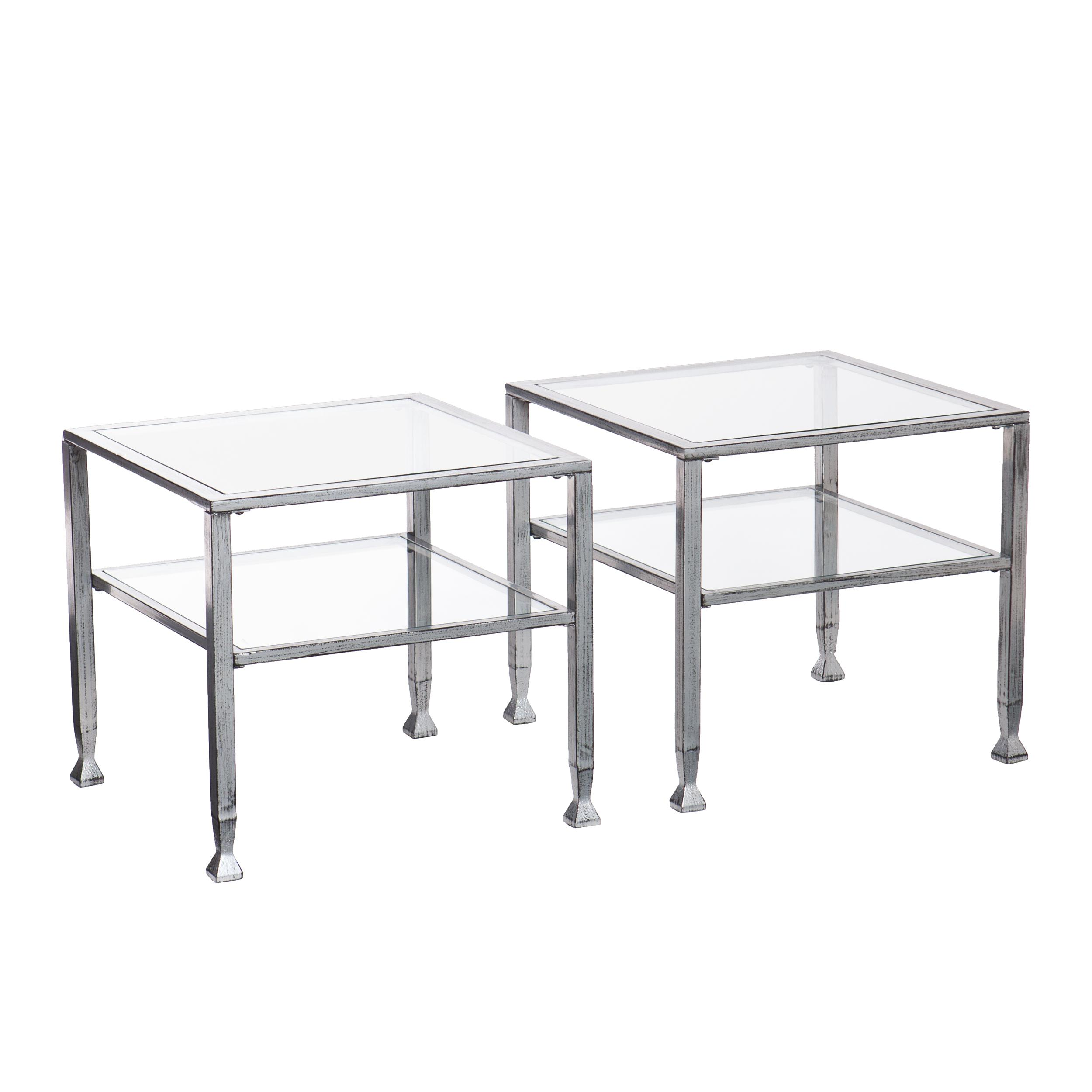 Com Southern Enterprises Melvin Metal Glass Cocktail Table Silver